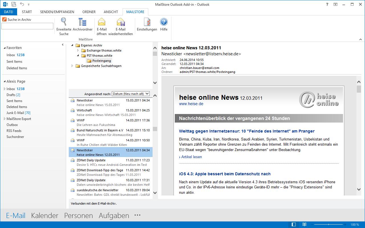 Mailstore Outlook Suche